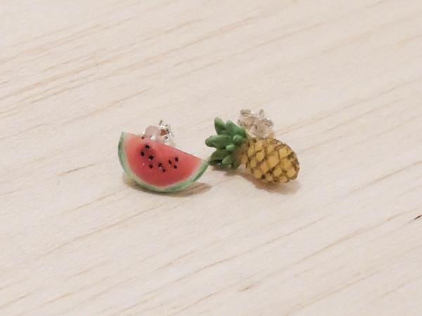 Ananas & melon - stiftörhängen bild
