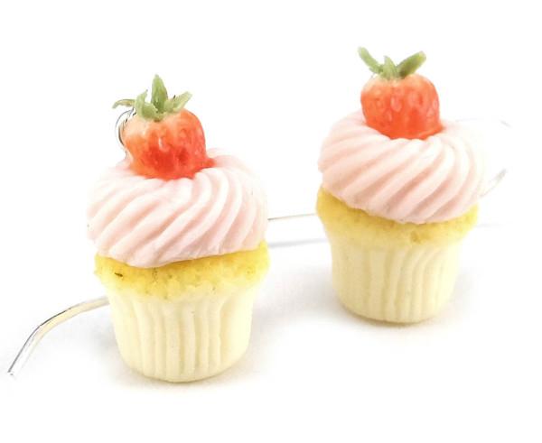 Cupcake örhängen - jordgubbe bild