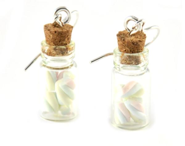 Marshmallows i flaska - örhängen bild