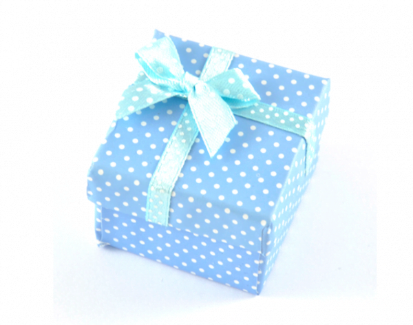 Presentask prickig ljusblå 5x5x3