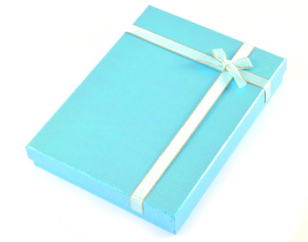 Presentask stor rektangulär blå bild
