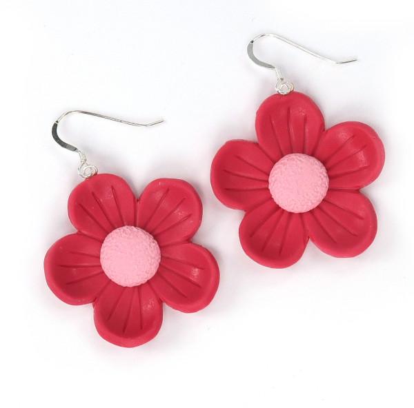 Retro blomma örhängen - Rosa bild