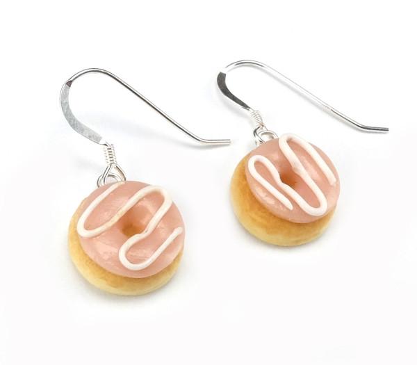 Donut örhängen - Hallonglasyr bild